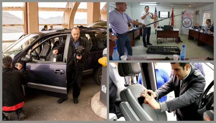 Three photos of men inspecting vehicles