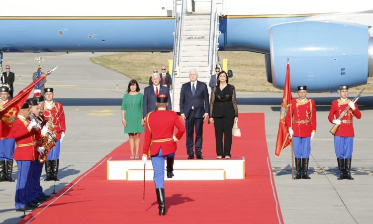 Vice President, Second Lady, Montenegrin Prime Minister and his wife observing honorary guard