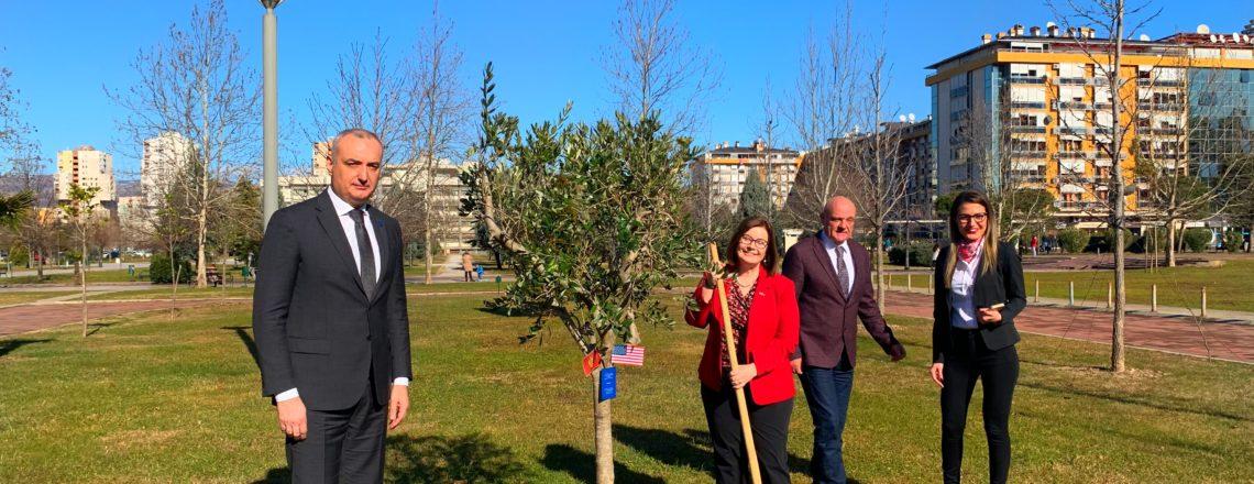 Ambassador Reinke Plants a Tree at University of Montenegro