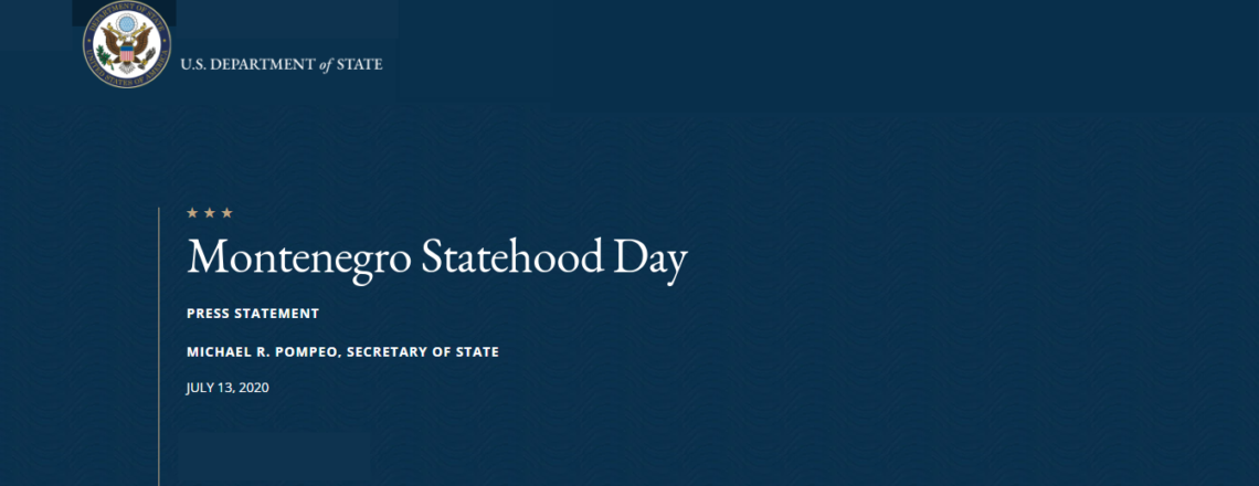 Secretary of State Pompeo's Press Statement: Montenegro Statehood Day