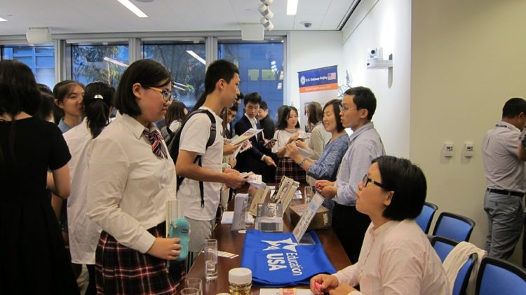 Students at information fair