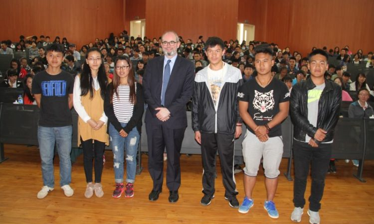 Consul General Raymond Greene spoke with students at Yunnan University of Nationalities in Kunming.