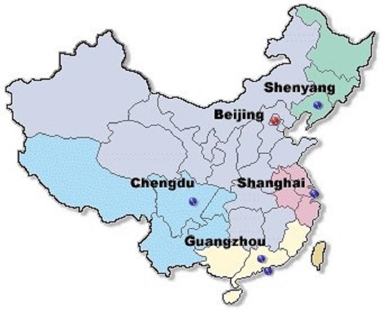 map | U.S. Embassy & Consulates in China