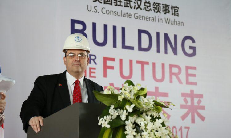 Consul General Joe Zadrozny at the Wuhan Consulate Groundbreaking Ceremony,February 10, 2017