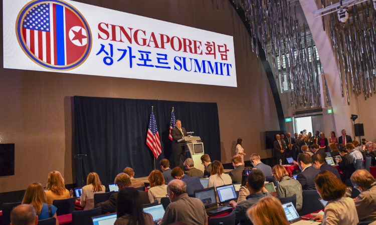 U.S. Secretary of State Mike Pompeo addresses the press at the White House Filing Center in Singapore on June 11, 2018. [State Department photo/ Public Domain]