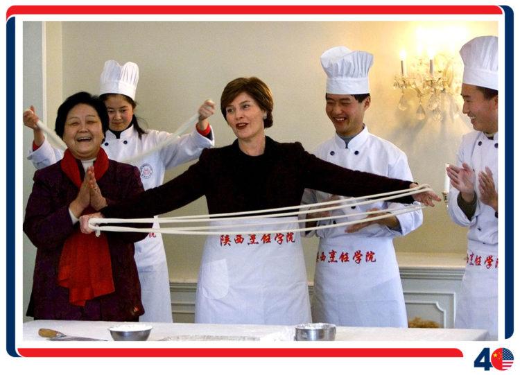 乔治·W·布什总统和第一夫人劳拉·布什访问中国
