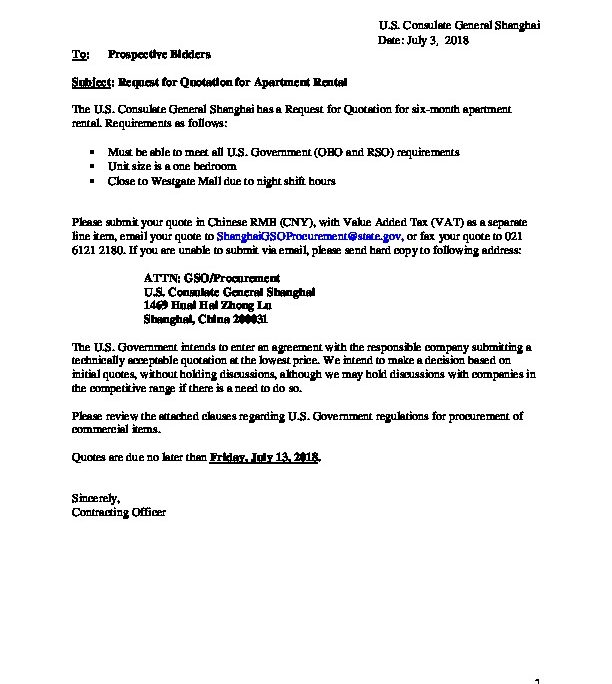 RFQ for apartment rental | U S  Embassy & Consulates in China