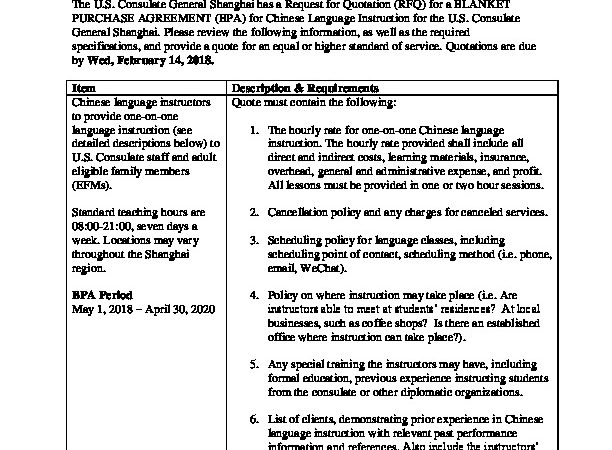 Shanghai RFQ Archives | U S  Embassy & Consulates in China