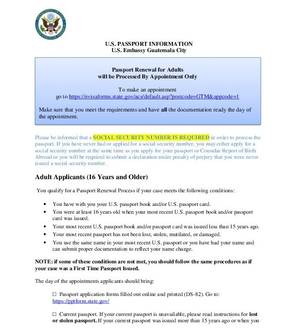 Passport Renewal for Adults will be Processed By Appointment