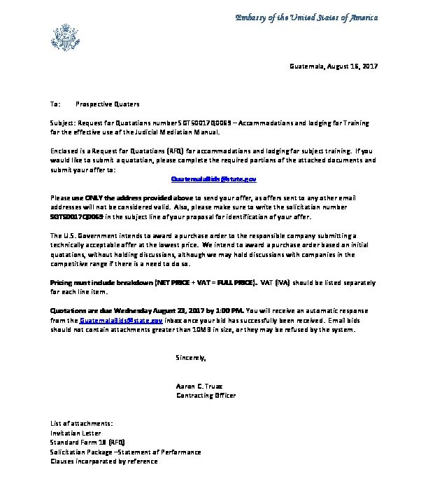 Invitation Letter SGT50017Q0069 | U.S. Embassy in Guatemala