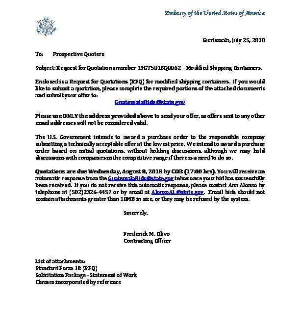 Invitation Letter 19gt5018q0062 U S Embassy In Guatemala