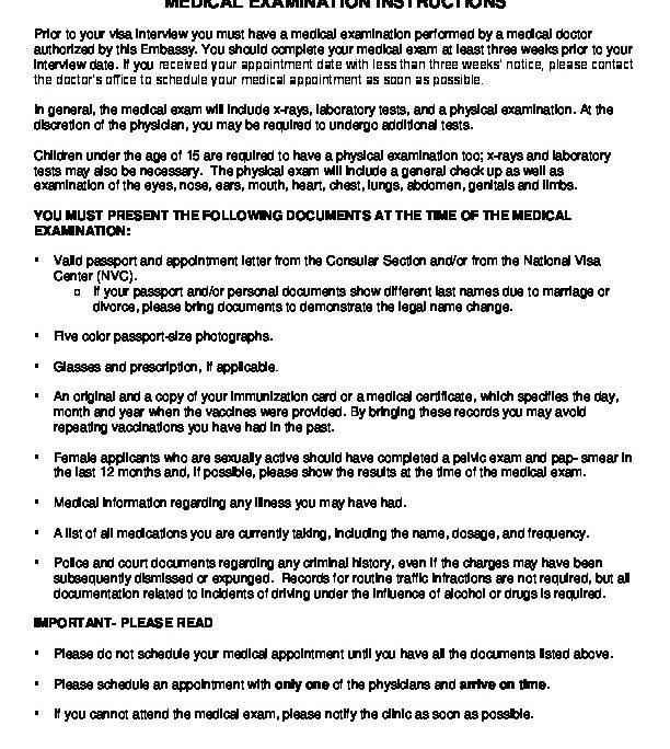 MEDICAL EXAMINATION INSTRUCTIONS | U S  Embassy in Guatemala