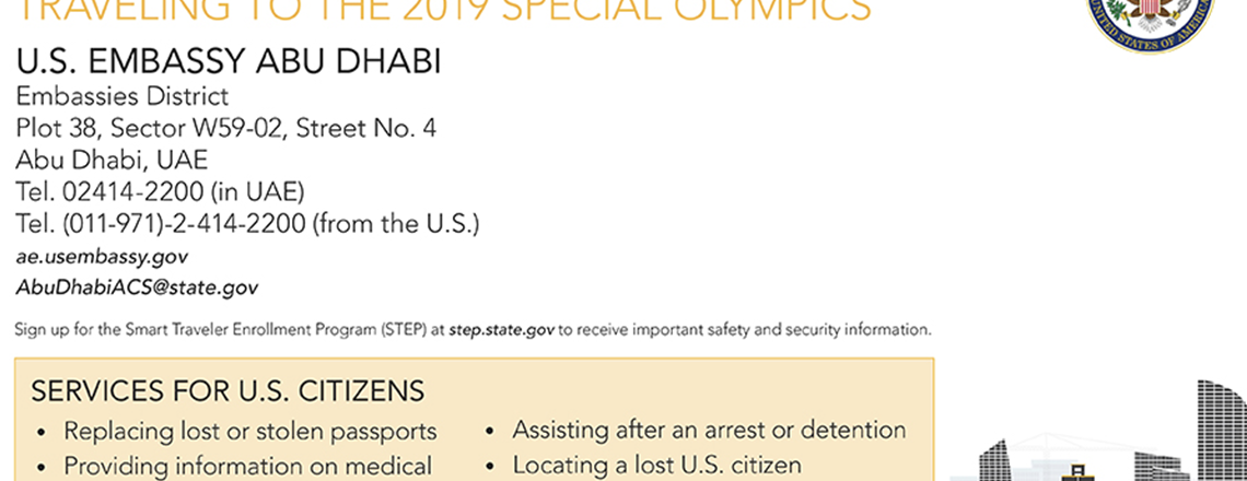 Emergency services for U.S. citizens traveling to Special Olympics Abu Dhabi 2019