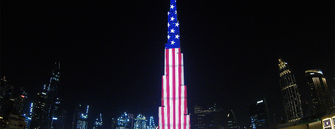 Burj Khalifa lit up in celebration of American Independence Day