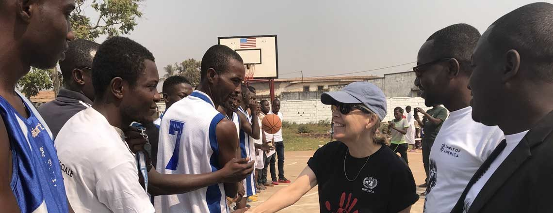 Ambassador Tamlyn Encourages Social Cohesion at a Basketball Game in PK5
