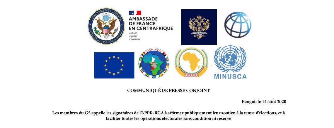 Les membres du G5 appelle les signataires de l'APPR-RCA