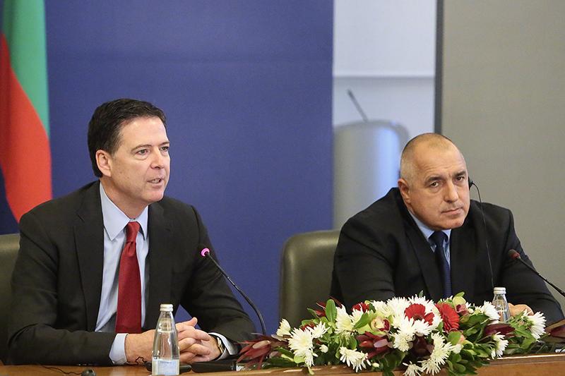 FBI Director James Comey (left) and Prime Minister Boyko Borissov