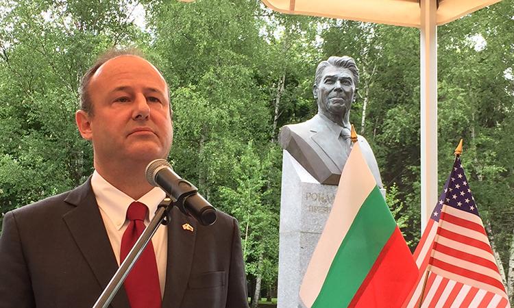 Откриване на бюст-паметник на президента Роналд Рейгън в Южния парк в София