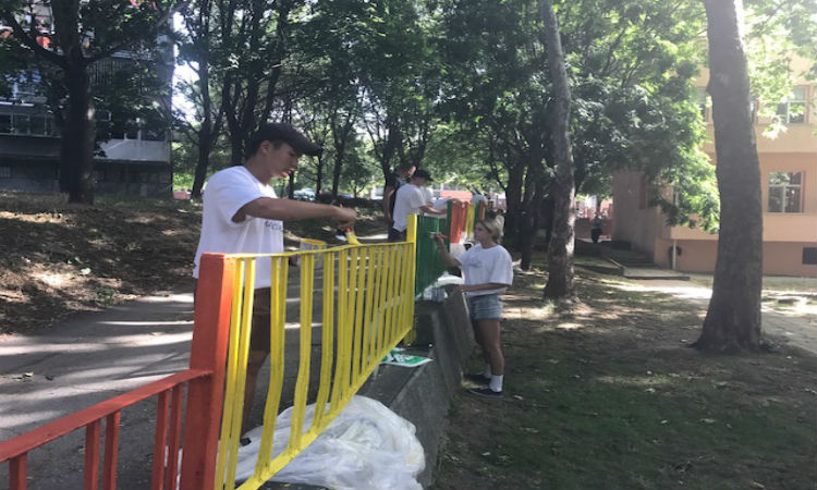 "U.S. Cadets Repaint the Fence of ""The Nightingale"" Kindergarten in Varna"