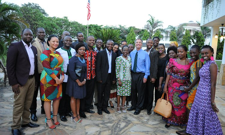 U.S. Ambassador Mark B. Childress with the 2015 Mandela Washington Fellows