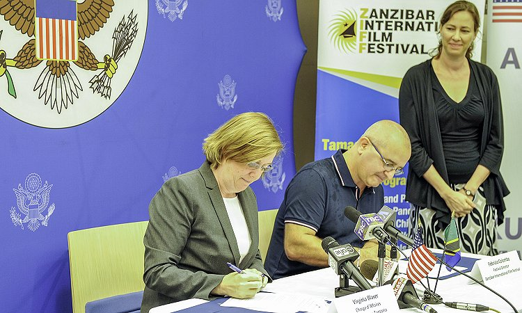 Signing of a Memorandum of Understanding (MOU) between the Zanzibar International Film Festival (ZIFF) and the U.S. Embassy to facilitate the participation of two American film experts in ZIFF this July, 2017.