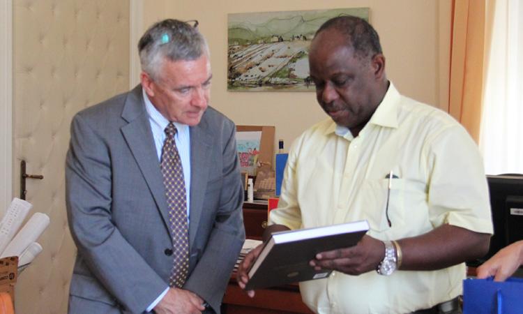 Ambassador Hartley with the Mayor of Piran, Peter Bossman