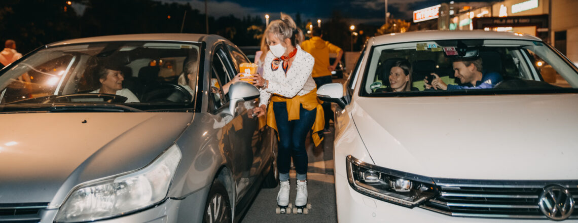 Ambassador Blanchard Tries Some New Wheels at Drive-In Cinema in Ljubljana