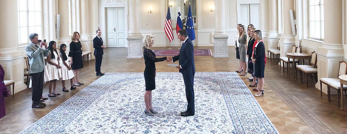 Ambassador Lynda C. Blanchard presents her credentials