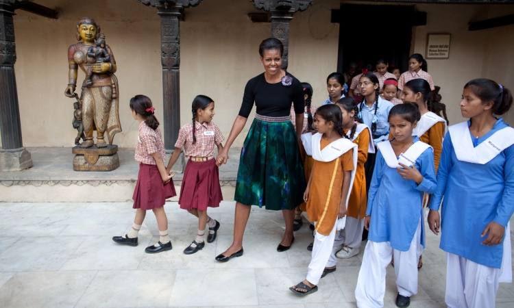 Michelle Obama visits with schoolgirls in India. (White House)