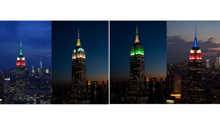 On Thursday, September 21, 2017, The Empire State Building was it was lit in rotating colors for the victims of the earthquake In Mexico & Hurricane Maria