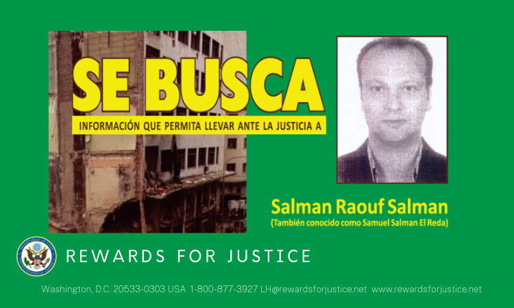 Anuncio de Rewards for Justice sobre Salman Raouf Salman
