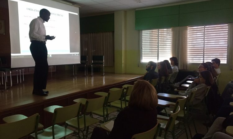 ACS Chief Christopher Richardson talks at the IES Rosa Chacel