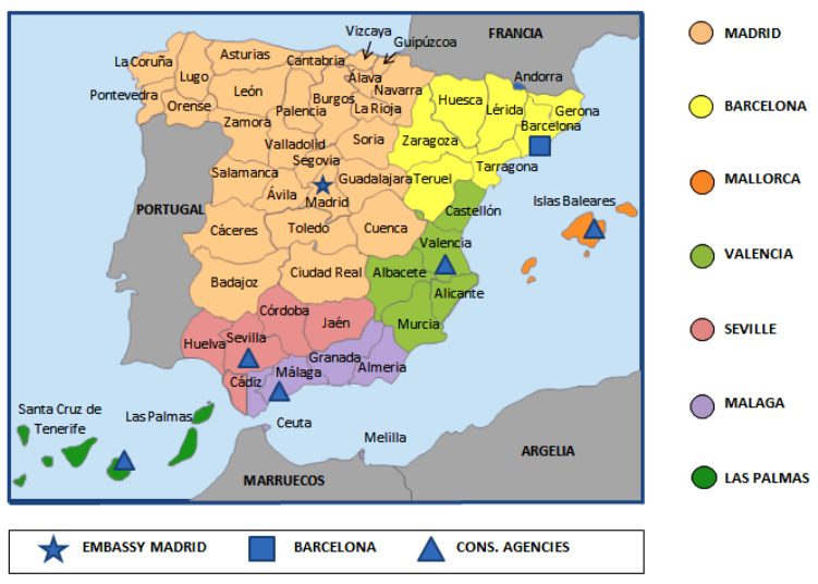 Map Of Spain With Barcelona.Map U S Embassy Consulate In Spain And Andorra