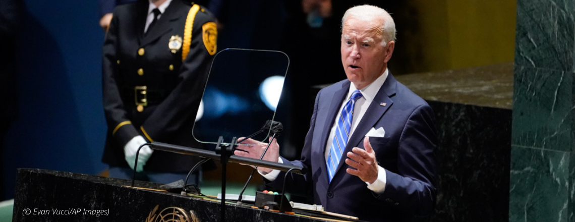 Messege from President Biden at the U.N. General Assembly on September 21
