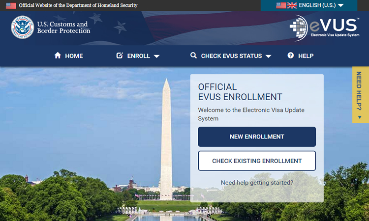 Electronic Visa Update System (EVUS) website (State Dept.)