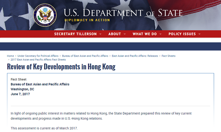 Fact Sheet: Review of Key Developments in Hong Kong (State Dept.)