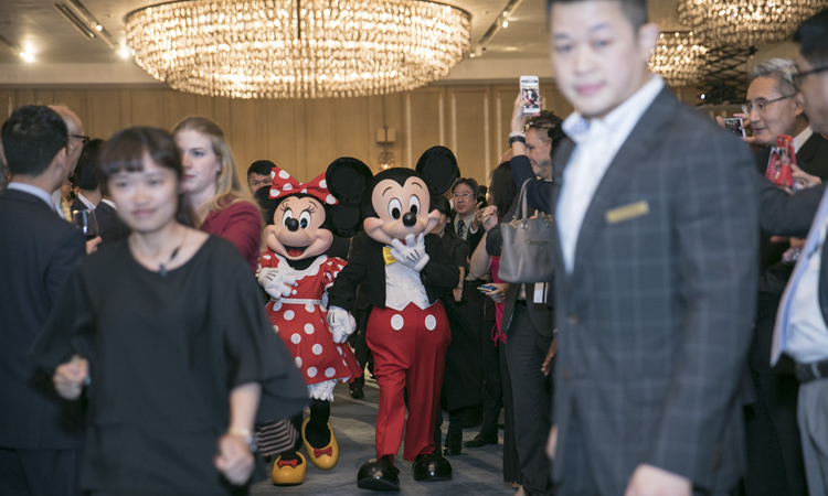 Mickey Mouse and Minnie Mouse open the U.S. Independence Day reception (State Dept.)