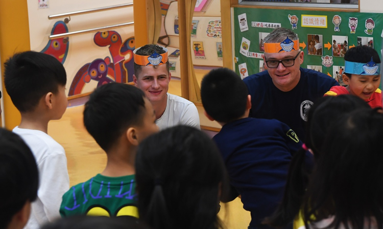 Sterett Sailors visit Hong Kong kindergarten (U.S. Navy photo by Mass Communication Specialist 2nd Class Richard L.J. Gourley/Released)