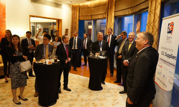 Consul General Tong and participants at the reception for U.S. and Hong Kong firms. (State Dept.)
