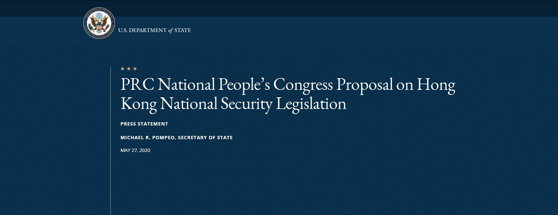 PRC National People's Congress Proposal on Hong Kong National Security Legislation