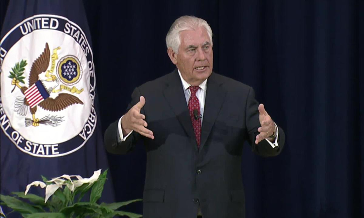 Secretary of State Rex Tillerson addresses State Department employees (State Dept.)