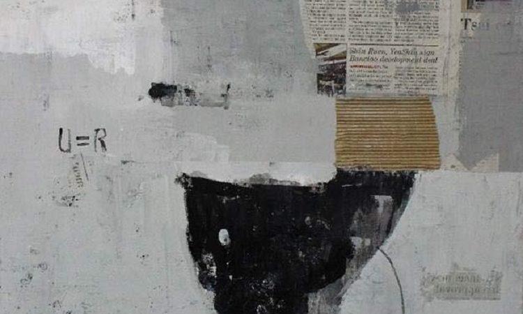 黃彥鈞的作品是從50多幅年輕藝術家的原創作品之中脫穎而出,他目前是國立臺灣藝術大學美術學系大四的學生。這幅多媒材的作品運用了水泥漆、壓克力顏料、和報紙,想要呈現我們大腦的思考過程,還有碰到外國語言需要翻譯轉換的狀態。