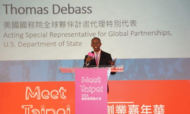 美國國務卿全球夥伴計畫辦公室代理特別代表湯瑪斯‧迪巴斯 「2016 Meet Taipei」創新創業嘉年華致詞
