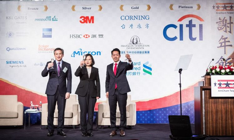 AIT Director Kin Moy joined President Tsai on stage at the American Chamber of Commerce in Taipei's Hsieh Nien Fan to applaud AmCham's work on behalf of the U.S. business community. (Photo: Courtesy of the American Chamber of Commerce in Taipei.)
