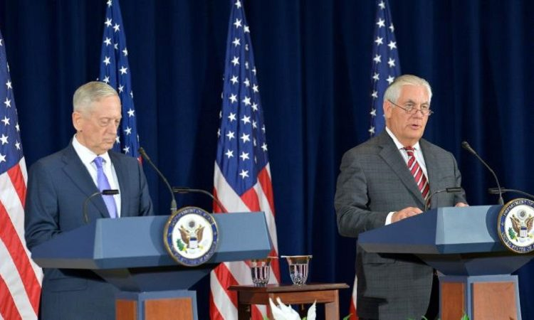 Secretaries Tillerson and Mattis address reporters in Washington, D.C. on June 21, 2017. (Image Source: https://blogs.state.gov/stories/2017/08/14/en/were-holding-pyongyang-account)