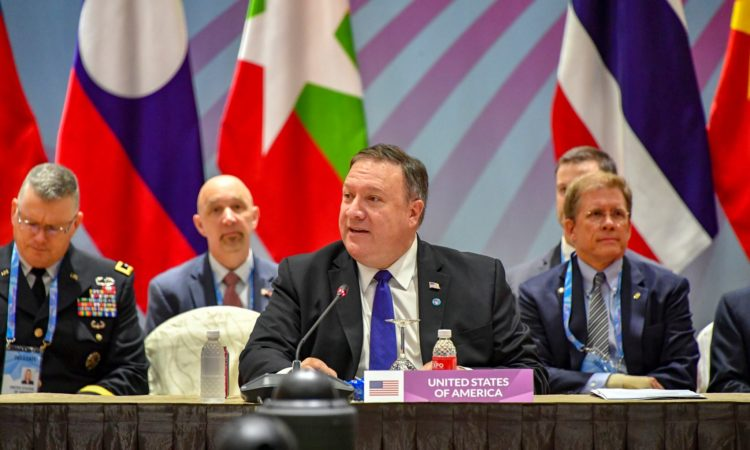 Secretary Pompeo delivering opening remarks at the U.S.-ASEAN Ministerial Meeting (State Dept. Images)