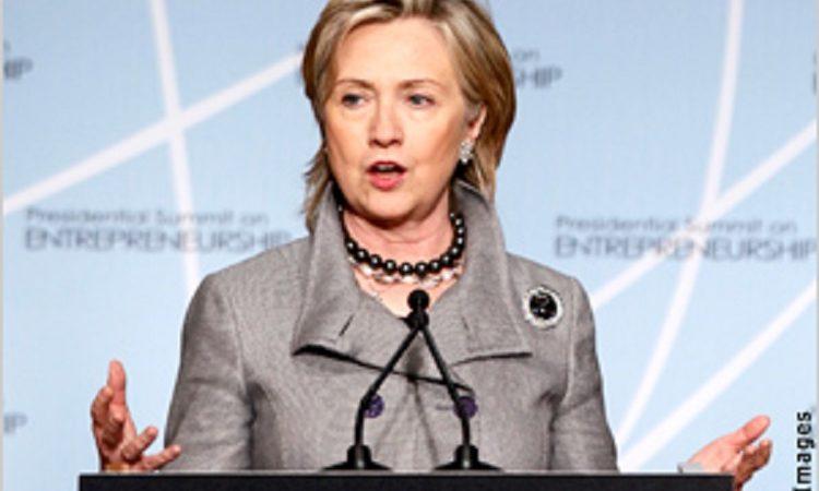 國務卿希拉蕊∙柯林頓在總統倡導的創業高峰會上發表演説 (Photo: America.gov - MGCK)