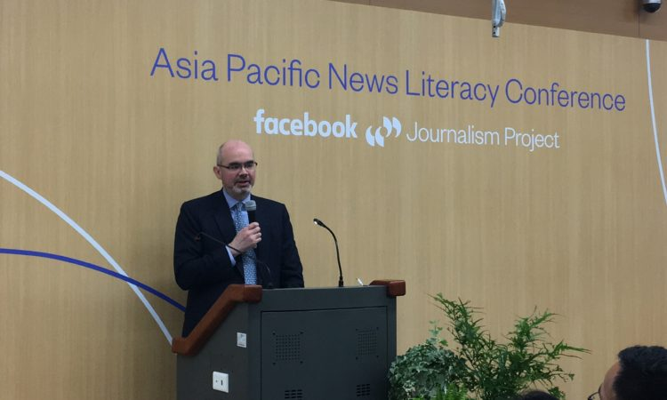 "AIT Deputy Director Raymond Greene at the Facebook Journalism Project ""Asia Pacific News Literacy Conference"""