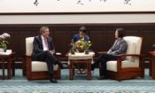 OPIC Acting President and Chief Executive Officer David Bohigian meets with Taiwan President Tsai Ing-wen at the Presidential Office Building in Taipei, Taiwan. 美國海外私人投資公司代理總裁兼執行長戴維·比海吉(David Bohigian)與蔡英文總統在總統府會面。