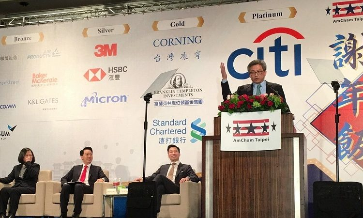 AIT Director Kin Moy at the American Chamber of Commerce in Taipei Hsieh Nien Fan
